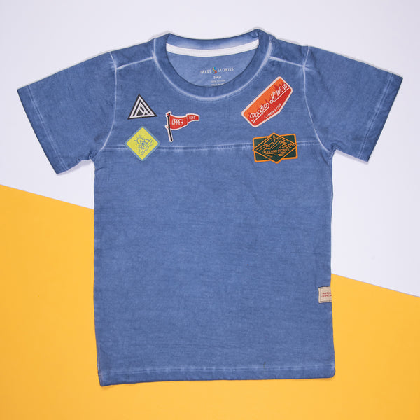 BOYS NAVY BLUE COTTON REGULAR T-SHIRT