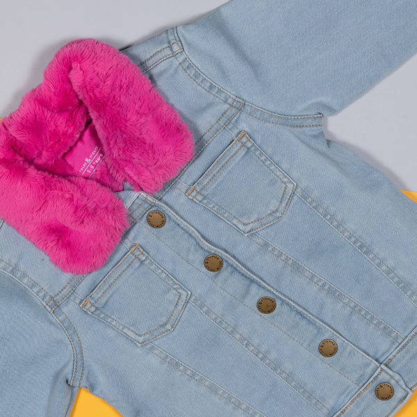 Girls Light Blue Denim Jacket With Pink Fur Collar
