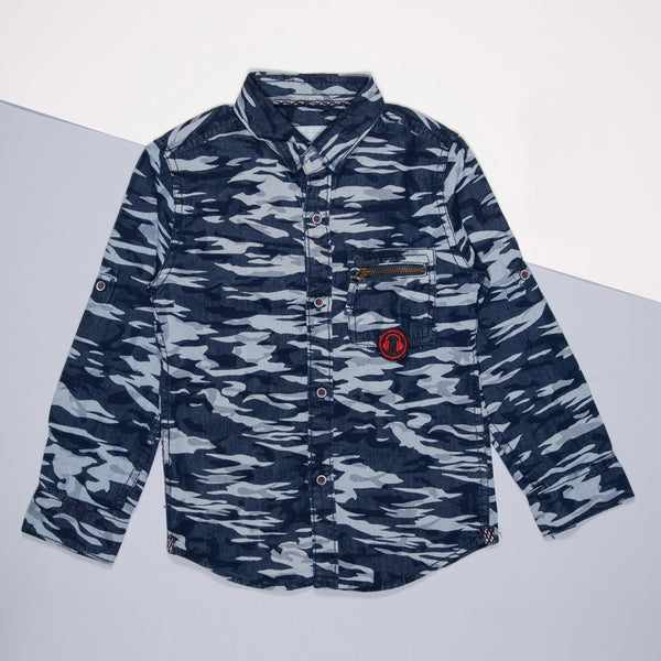 BOYS DARK BLUE COTTON PRINTED REGULAR SHIRT