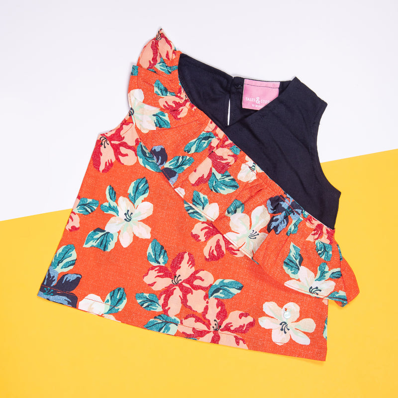 GIRLS ORANGE FLORAL COLOUR BLOCK CASUAL TOP