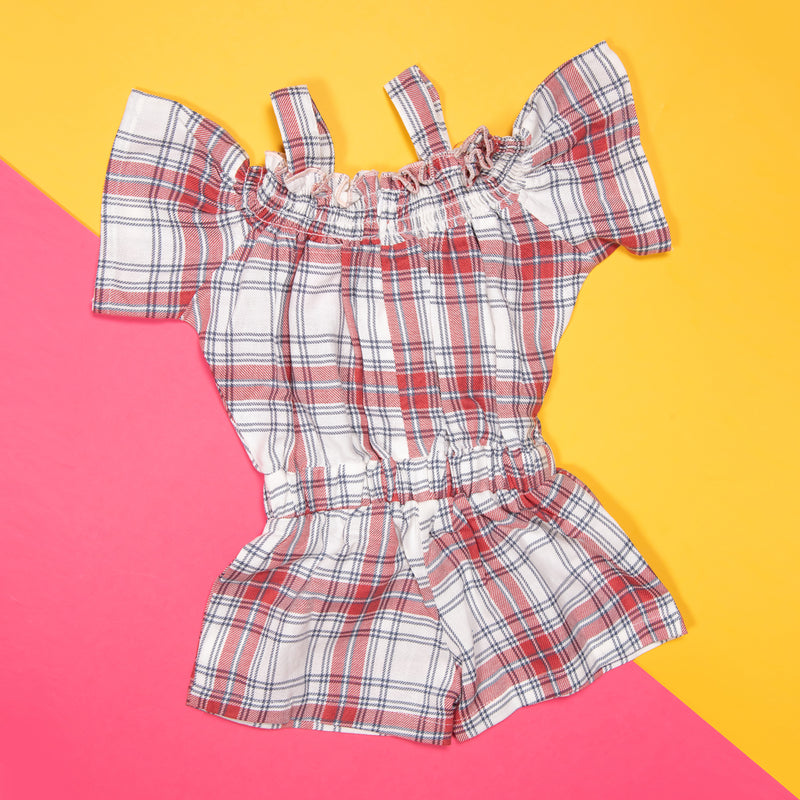 GIRLS RED PLAID CASUAL ROMPER