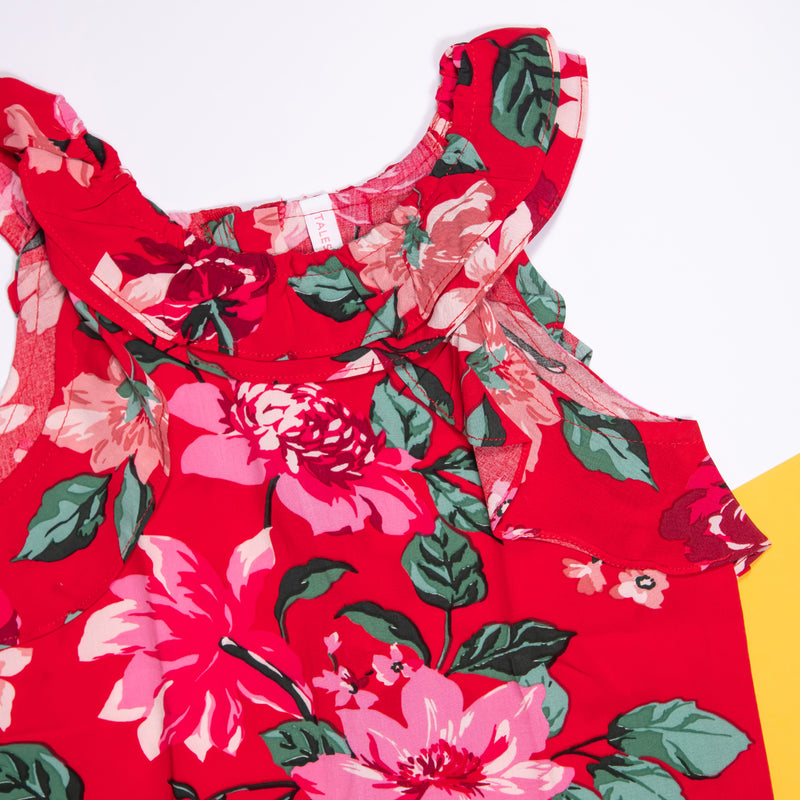 GIRLS RED FLORAL PRINT CASUAL TOP