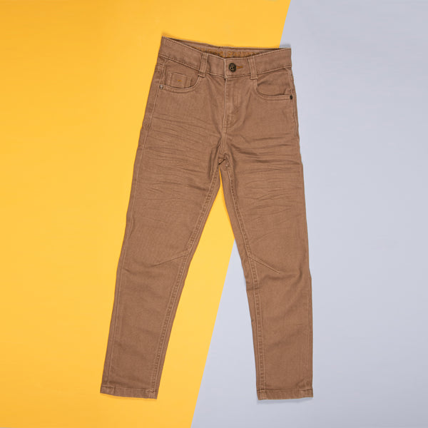 BOYS SLIM FIT STRETCHABLE KHAKI TROUSER