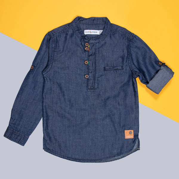 BOYS DARK BLUE COTTON WASHED REGULAR SHIRT