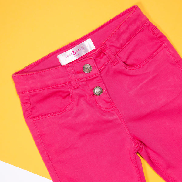 GIRLS SLIM FIT DARK PINK CAPRI
