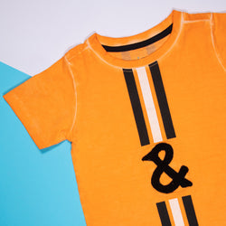 Boys Orange Cotton Regular T-Shirt