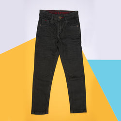 Boys Slim Fit Stretchable Olive Trouser