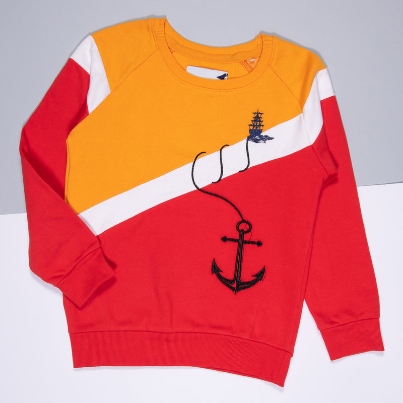 BOYS EMBROIDERED REGULAR DARK YELLOW SWEATSHIRT