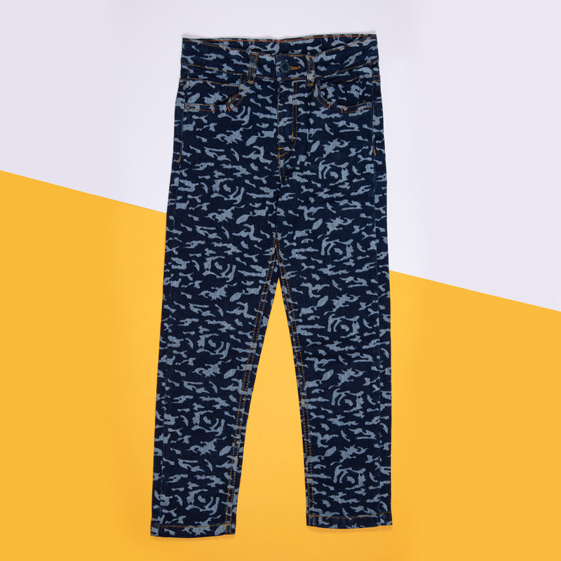 BOYS DARK BLUE PRINTED SLIM FIT STRETCHABLE DENIM JEANS