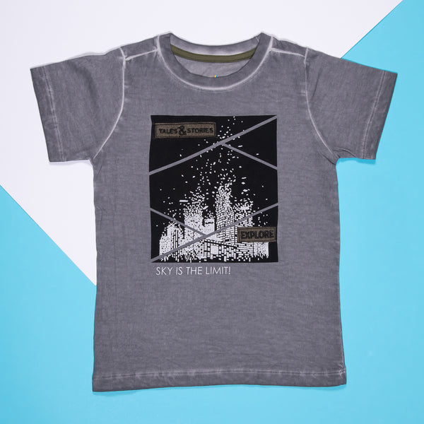 Boys Dark Grey Cotton Regular T-Shirt