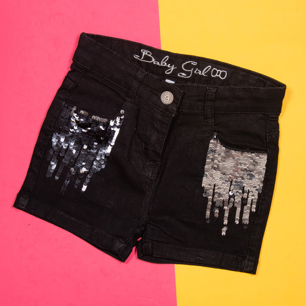 GIRLS BLACK REVERSIBLE SEQUIN CASUAL SHORTS