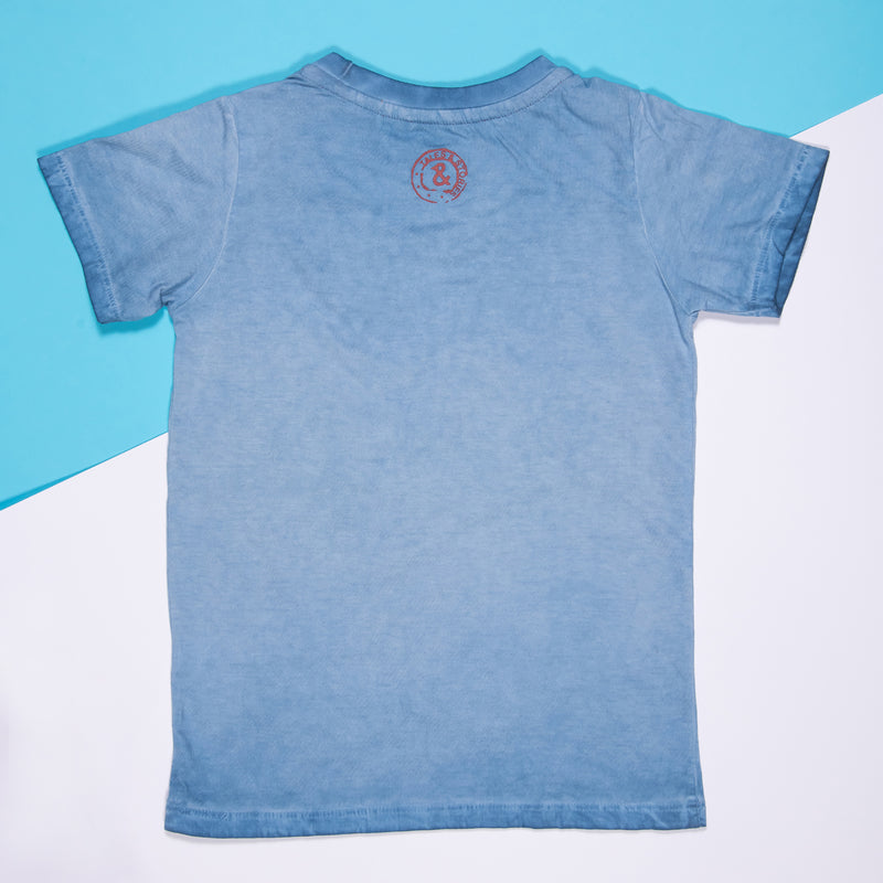 Boys Mid Blue Cotton Regular T-Shirt