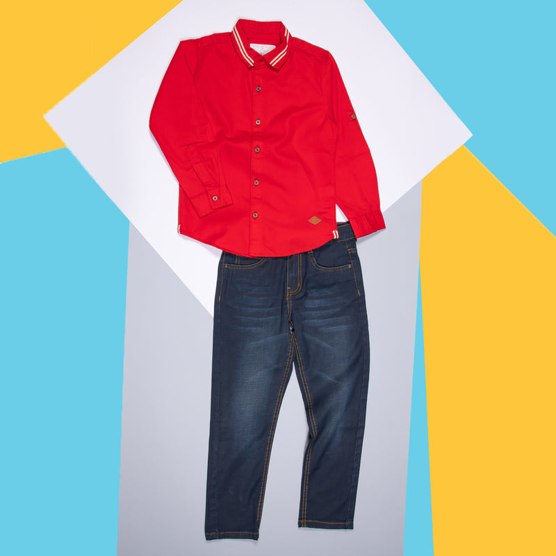 BOYS RED COTTON LACED REGULAR SHIRT