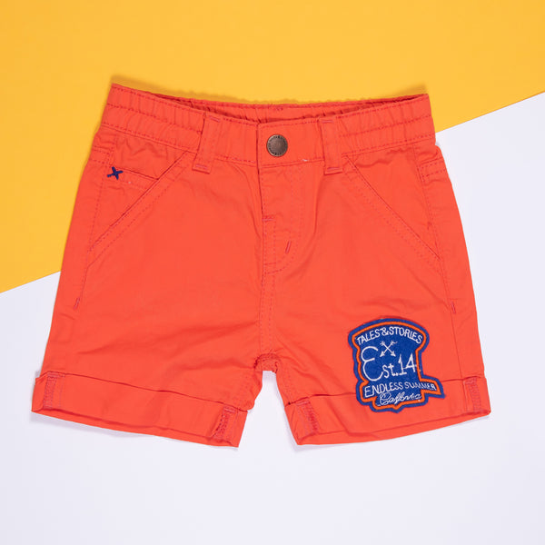 BOYS ORANGE COTTON REGULAR SHORTS