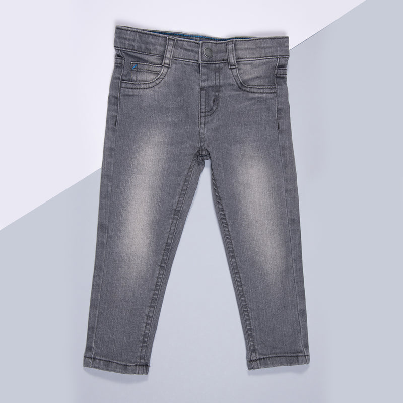 Boys Grey Slim Fit Stretchable Denim Jeans
