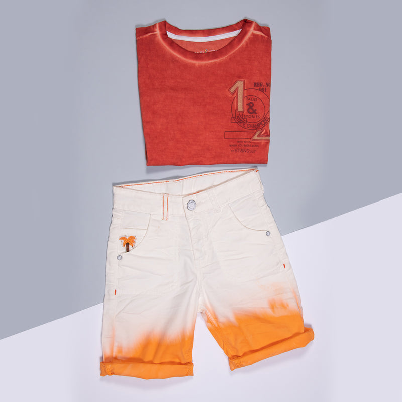 Boys Orange Lycra Regular Shorts