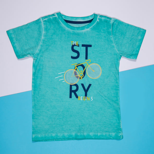 BOYS COOL GREEN COTTON REGULAR T-SHIRT