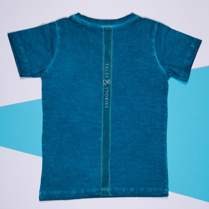 Boys Turquoise Blue Cotton Regular T-Shirt