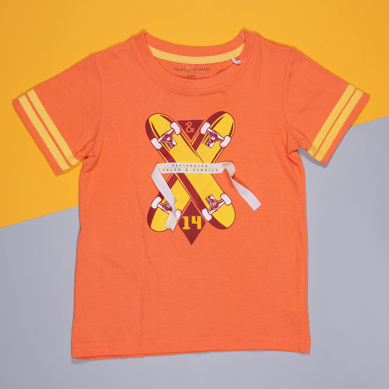 BOYS RUST COTTON REGULAR T-SHIRT