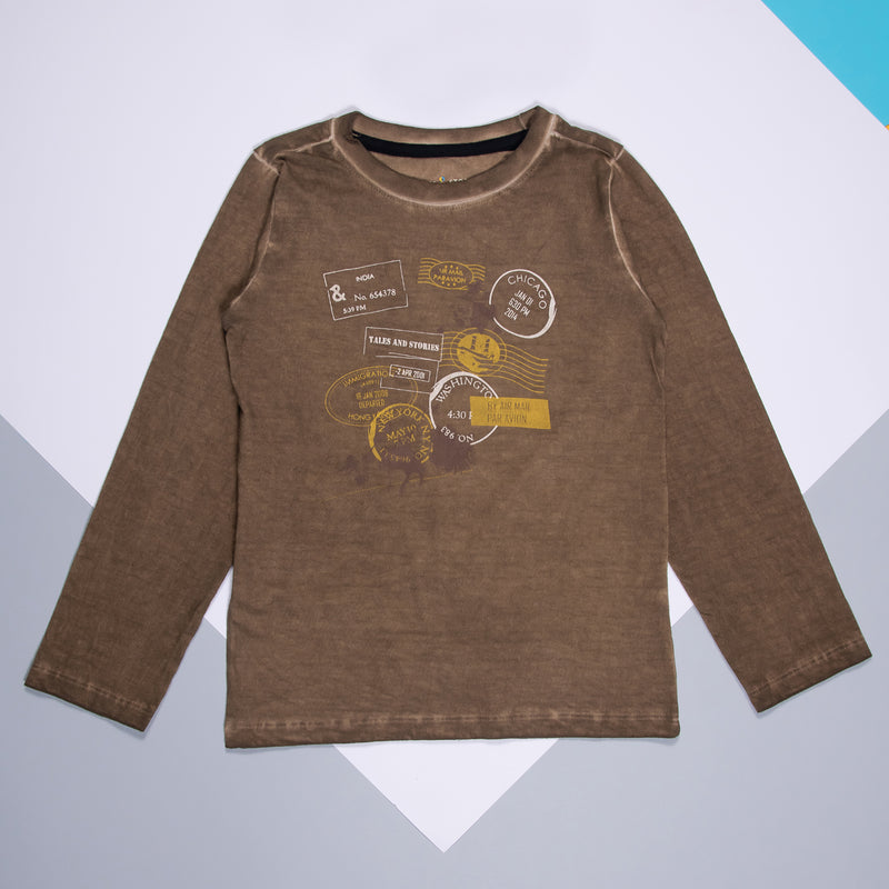 Boys Brown Printed Full Sleeve T-Shirt