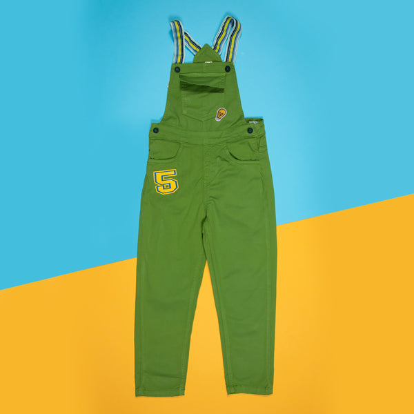 BOYS GREEN OVER DYE STRETCHABLE SLIM FIT DUNGAREE