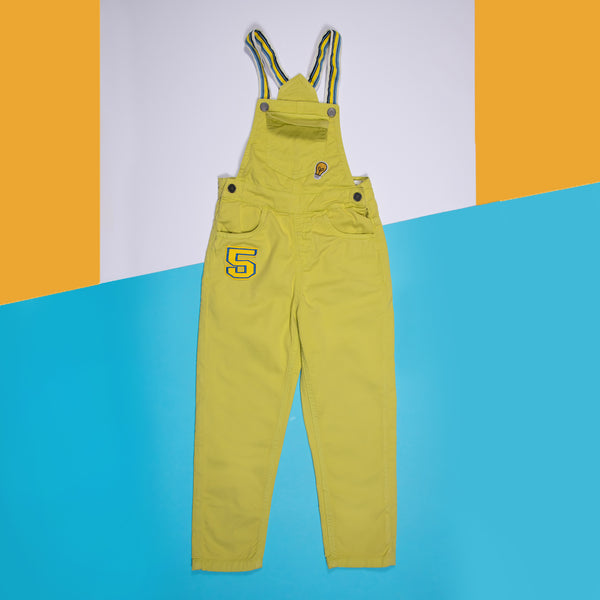 BOYS NEON GREEN OVER DYE STRETCHABLE SLIM FIT DUNGAREE