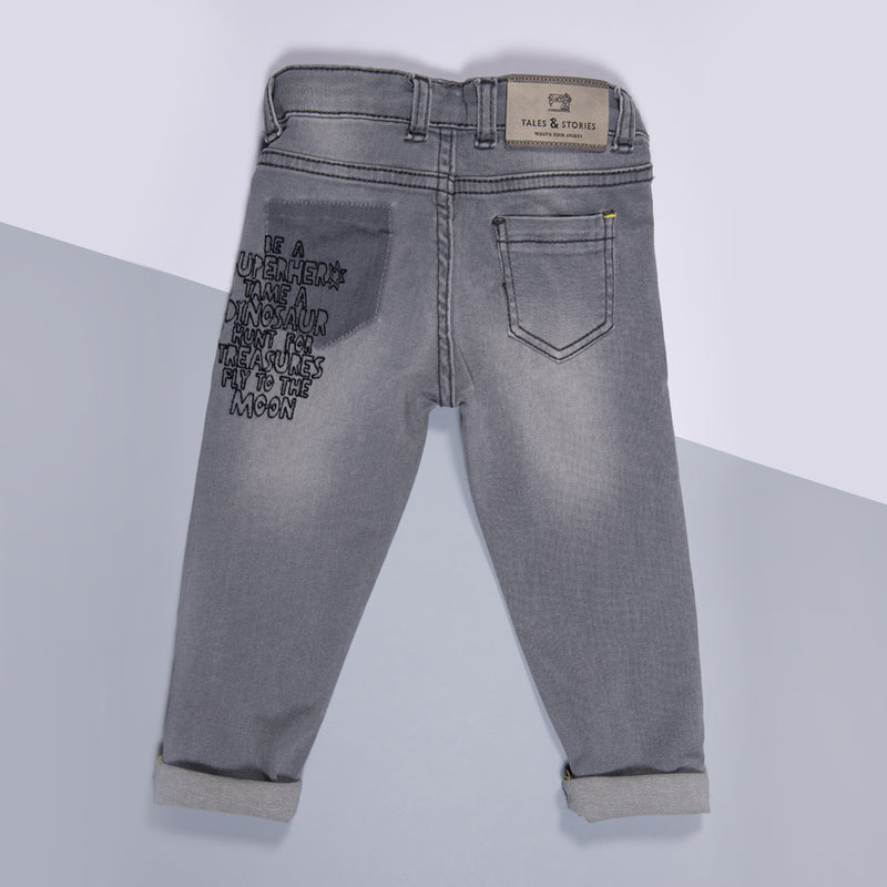 Boys Grey Slim Fit Embroidered Stretchable Denim Jeans