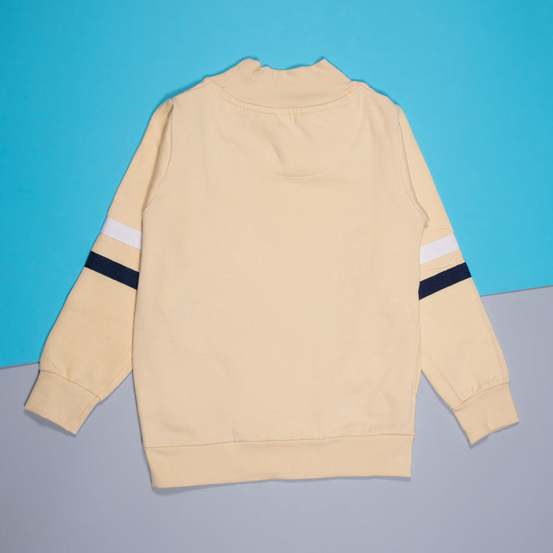 Boys Printed Regular Off-White Sweatshirt