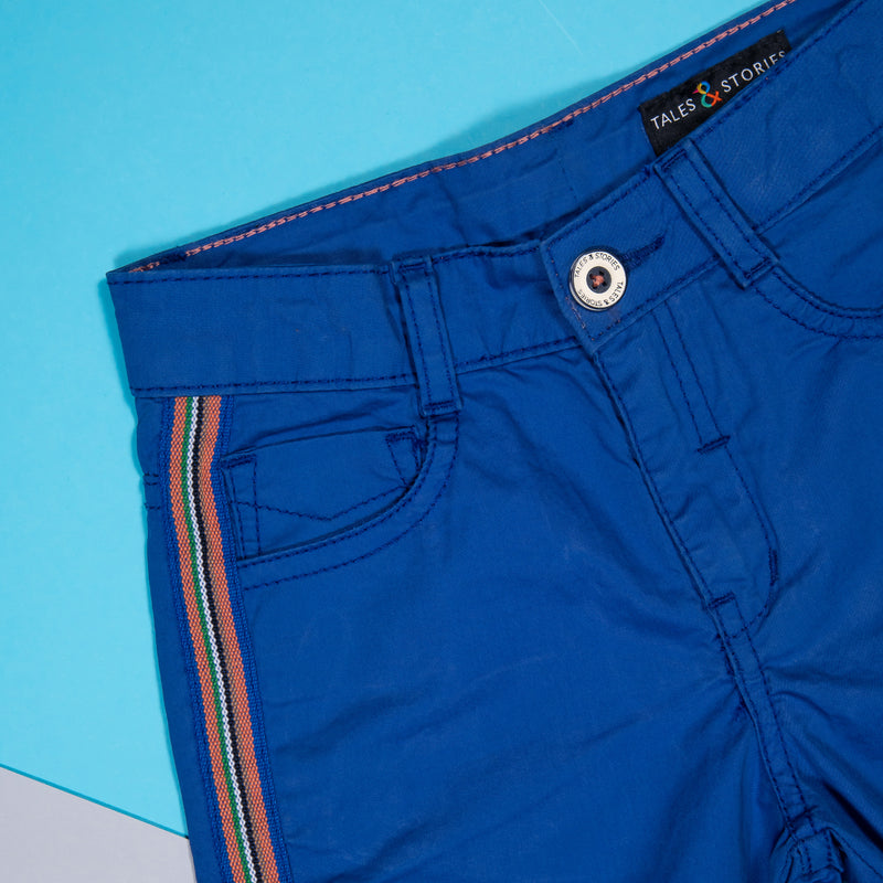 Boys Royal Blue Cotton Roll-up Regular Shorts