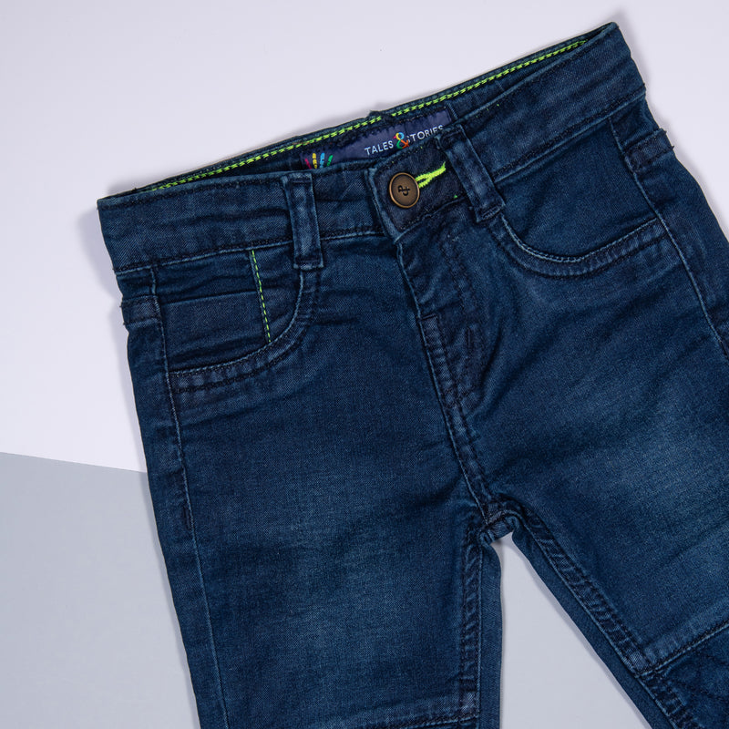 Boys Dark Blue Patched Slim Fit Stretchable Denim Jeans