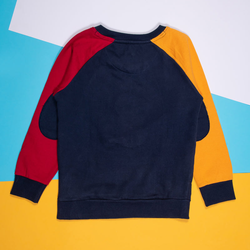 Boys  Embroidered Regular Navy Blue Sweatshirt