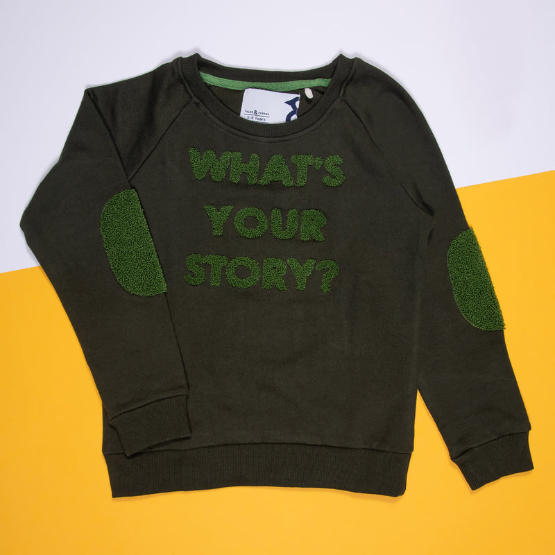 Boys Cotton Embroidered Regular Olive Sweatshirt