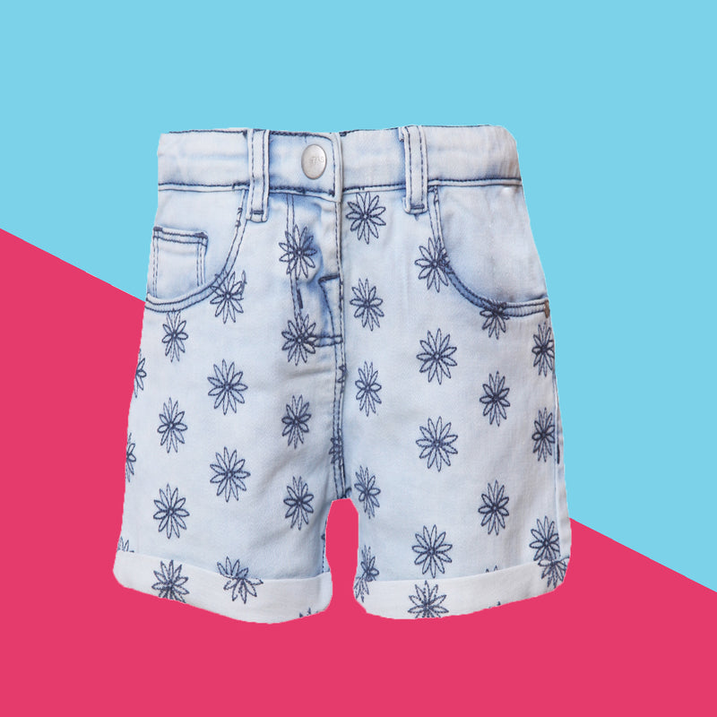 Girls Slim Fit Light Blue Printed Casual Shorts