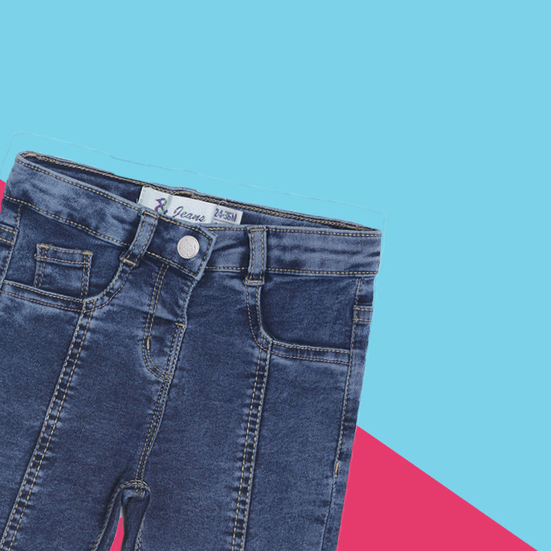 Girls Mid Blue Slim Fit Stretchable Jeans