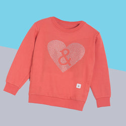 Girls Pink Printed Cotton Regular Sweatshirt