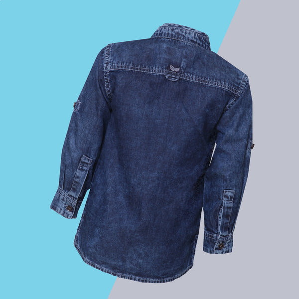 Boys Regular Fit Dark Blue Denim Shirt