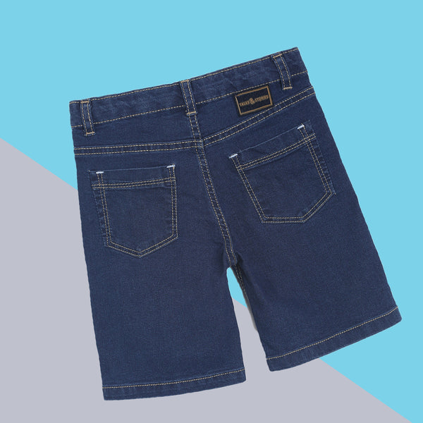 Boys Slim Fit Mid Blue Denim Bermuda