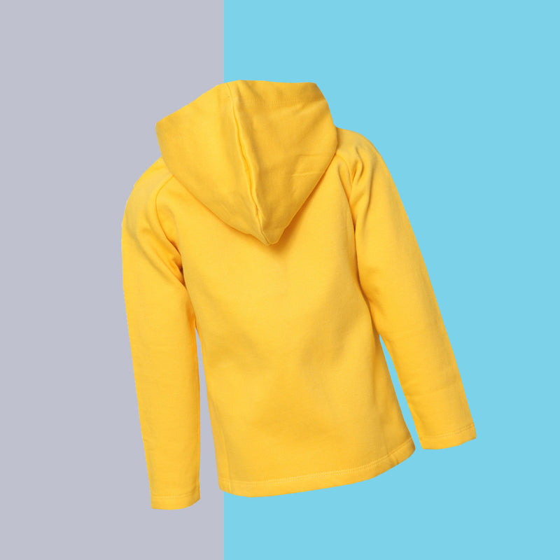 Boys Printed Regular Yellow SweatShirt with Hood