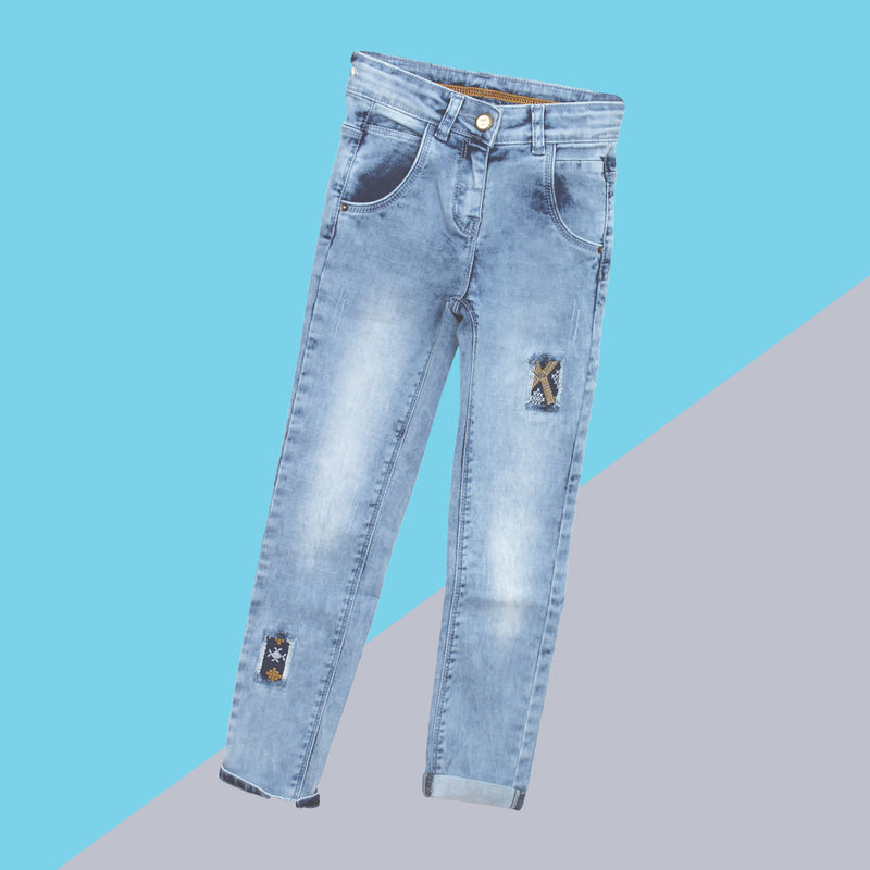Girls Light Blue Embroidered Stretchable Slim Fit Jeans