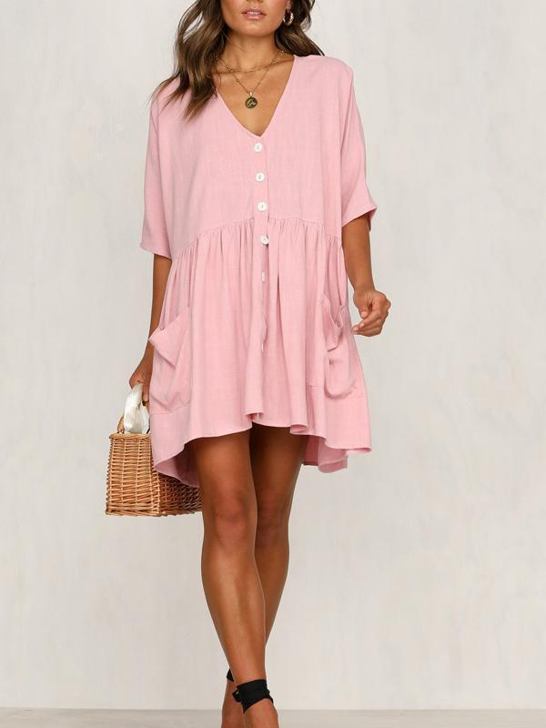 Massimoda Casual Short Sleeve Dress