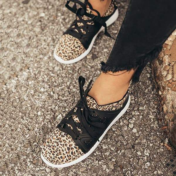 Massimoda Women The Adrian Leopard Lace-up Sneakers