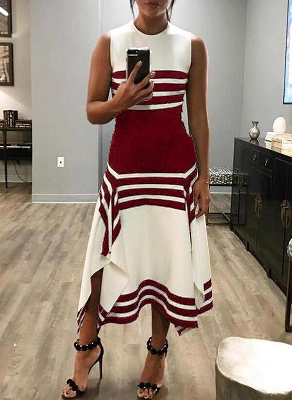 Massimoda Striped Sleeveless A-line Dress
