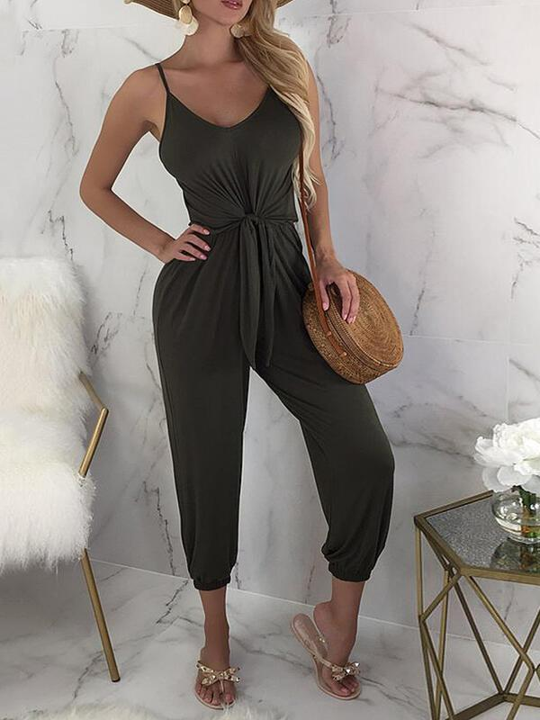 Massimoda Solid Spaghetti Strap Sleeveless Casual Vacation Jumpsuit