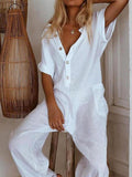 Massimoda Solid V-Neck Short Sleeves Vacation Jumpsuit