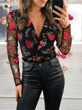 Massimoda V Neck Floral Mesh Sleeve Top
