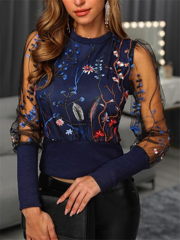 Massimoda Floral Embroidery Sheer Mesh Blouse