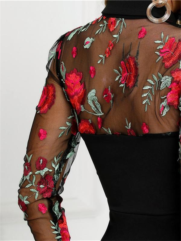 Massimoda Sheer Mesh Floral Embroidery Bodycon Dress
