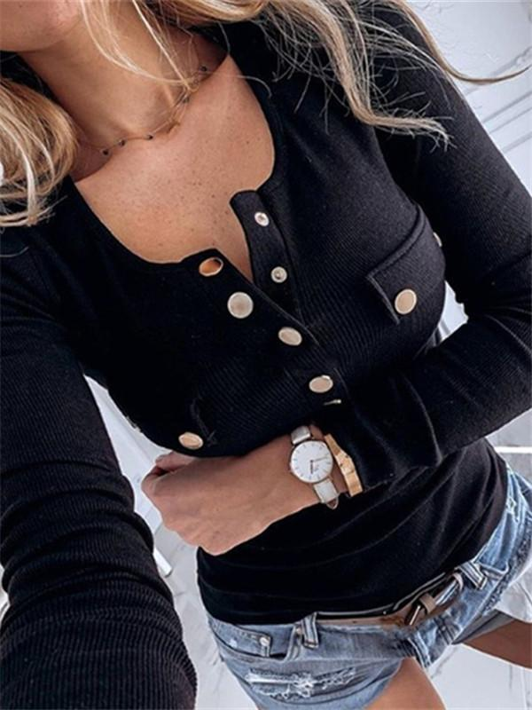 Massimoda Buttoned Ribbed Long Sleeve Blouse