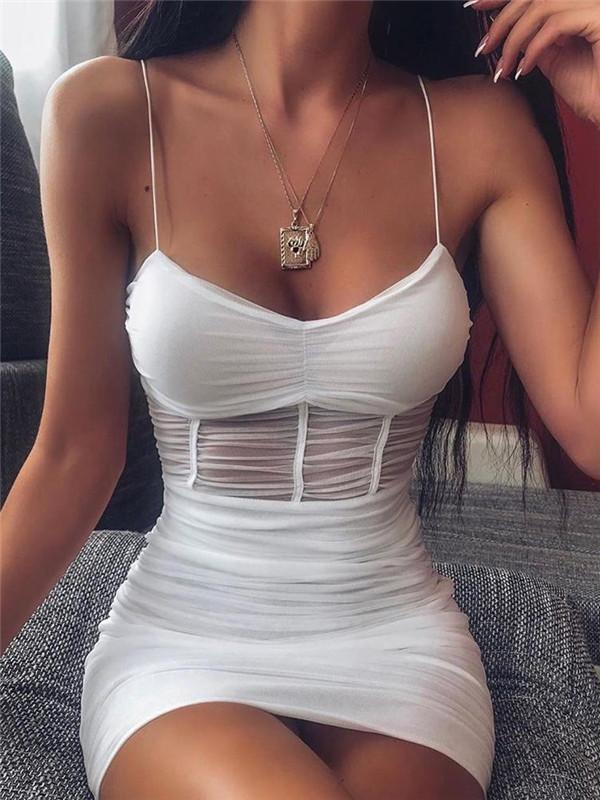 Massimoda See-through Mesh Cami Dress