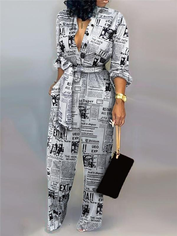 Massimoda Letter Print Casual Knotted Jumpsuit
